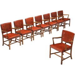 Ole Wanscher Set of Eight Armchairs in Original Red Leather and Walnut