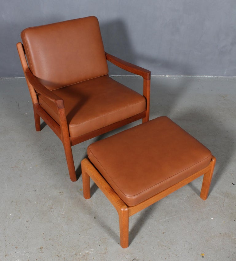 Danish Ole Wanscher Set of Lounge Chairs with Ottoman For Sale