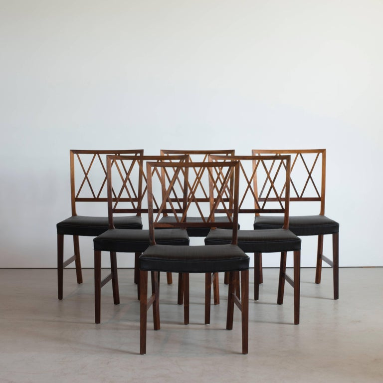 Danish Ole Wanscher Set of Six Dinning Chairs in Rosewood for A. J. Iversen For Sale