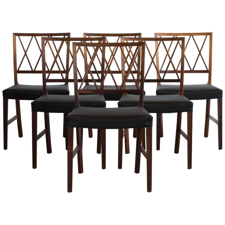 Ole Wanscher Set of Six Dinning Chairs in Rosewood for A. J. Iversen For Sale
