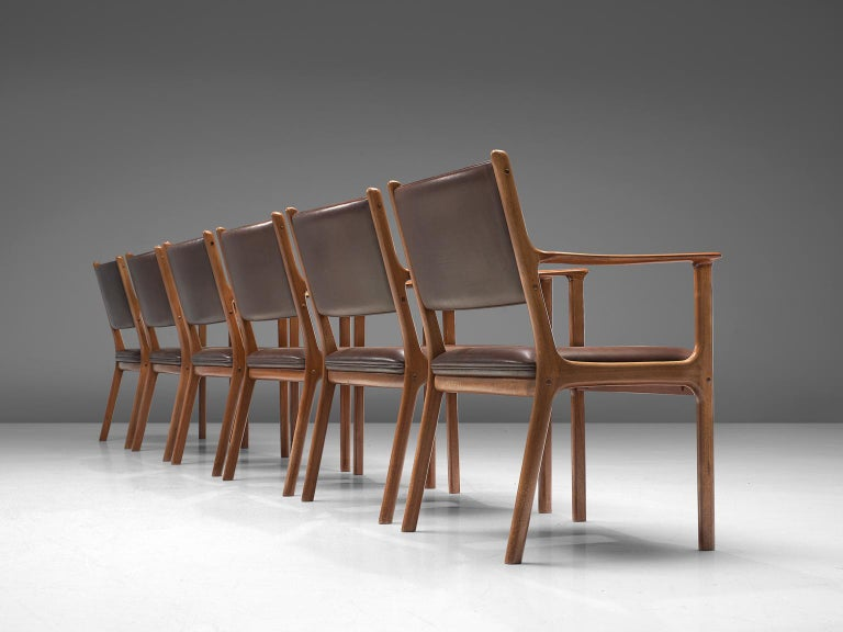 Scandinavian Modern Ole Wanscher Set of Six 'PJ412' Armchairs in Teak and Brown Leather For Sale