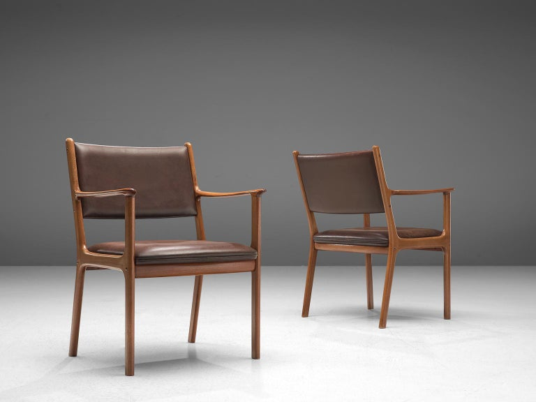Ole Wanscher Set of Six 'PJ412' Armchairs in Teak and Brown Leather In Good Condition For Sale In Waalwijk, NL