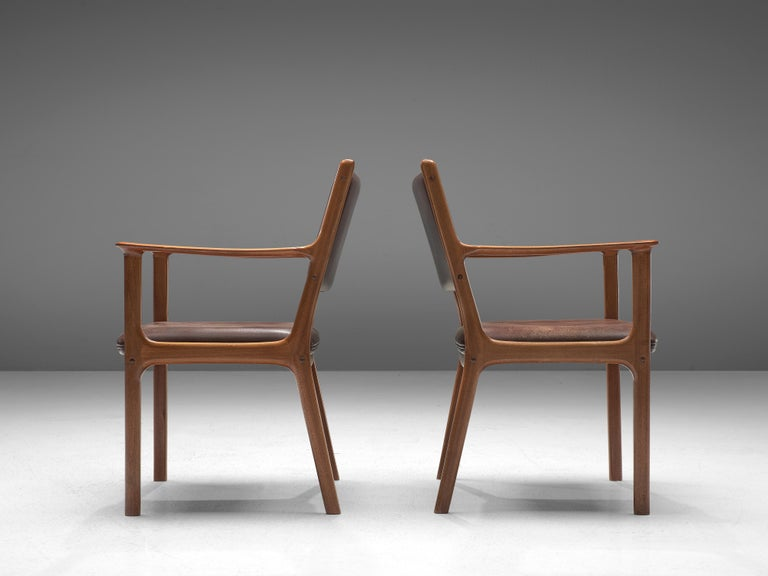 Mid-20th Century Ole Wanscher Set of Six 'PJ412' Armchairs in Teak and Brown Leather For Sale