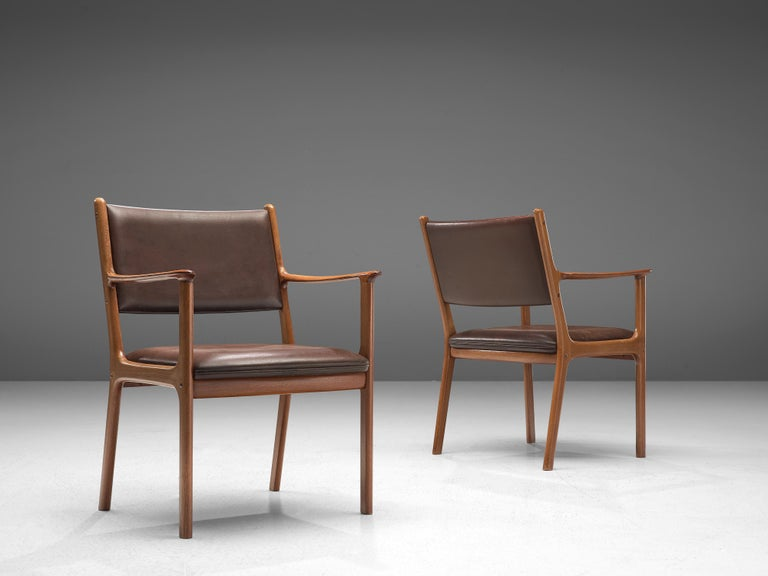Ole Wanscher Set of Six 'PJ412' Armchairs in Teak and Brown Leather For Sale 1