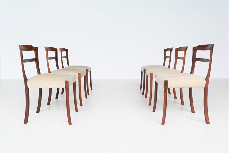 Danish Ole Wanscher Set of Six Rosewood Dining Chairs A.J. Iversen, Denmark, 1960 For Sale