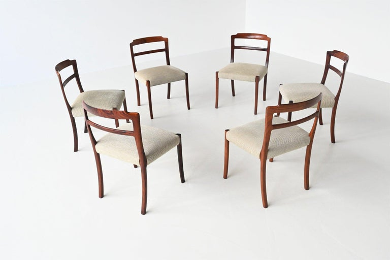 Ole Wanscher Set of Six Rosewood Dining Chairs A.J. Iversen, Denmark, 1960 In Good Condition For Sale In Etten-Leur, NL