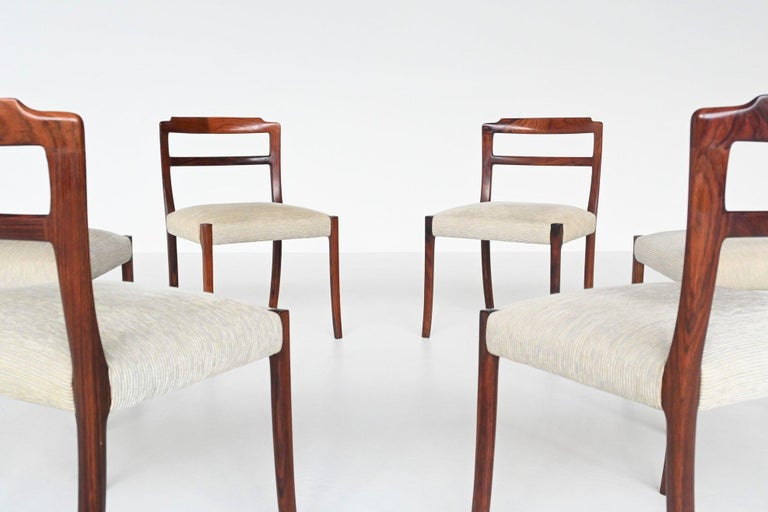 Mid-20th Century Ole Wanscher Set of Six Rosewood Dining Chairs A.J. Iversen, Denmark, 1960 For Sale