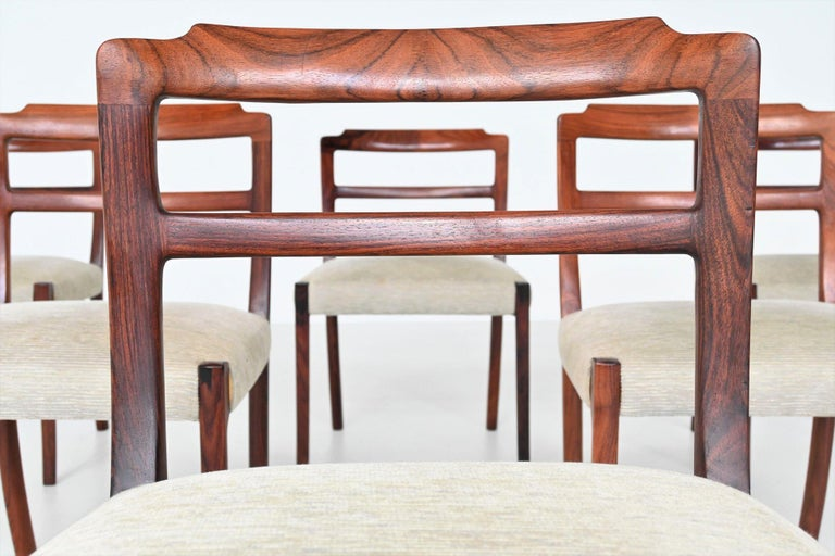 Fabric Ole Wanscher Set of Six Rosewood Dining Chairs A.J. Iversen, Denmark, 1960 For Sale