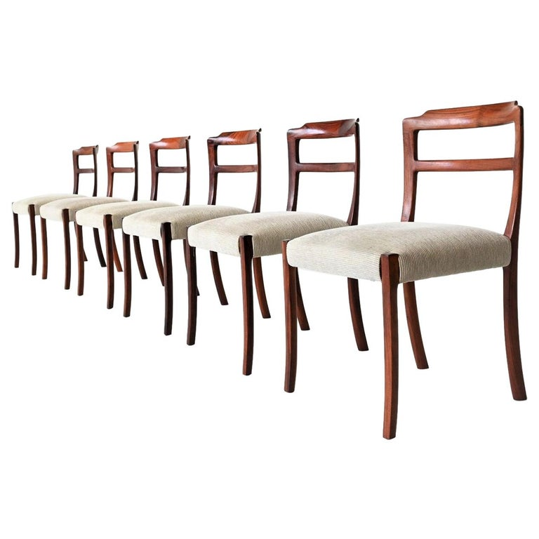 Ole Wanscher Set of Six Rosewood Dining Chairs A.J. Iversen, Denmark, 1960 For Sale