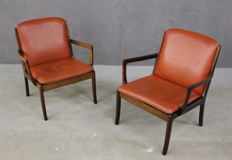 Scandinavian Modern Ole Wanscher Set Two Seat Sofa And Lounge Chairs Cognac