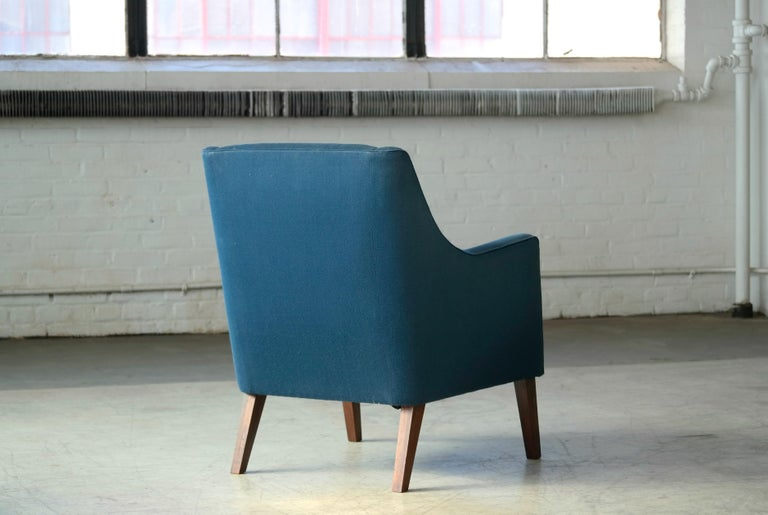 Wool Ole Wanscher Style Danish 1960s Lounge Chair