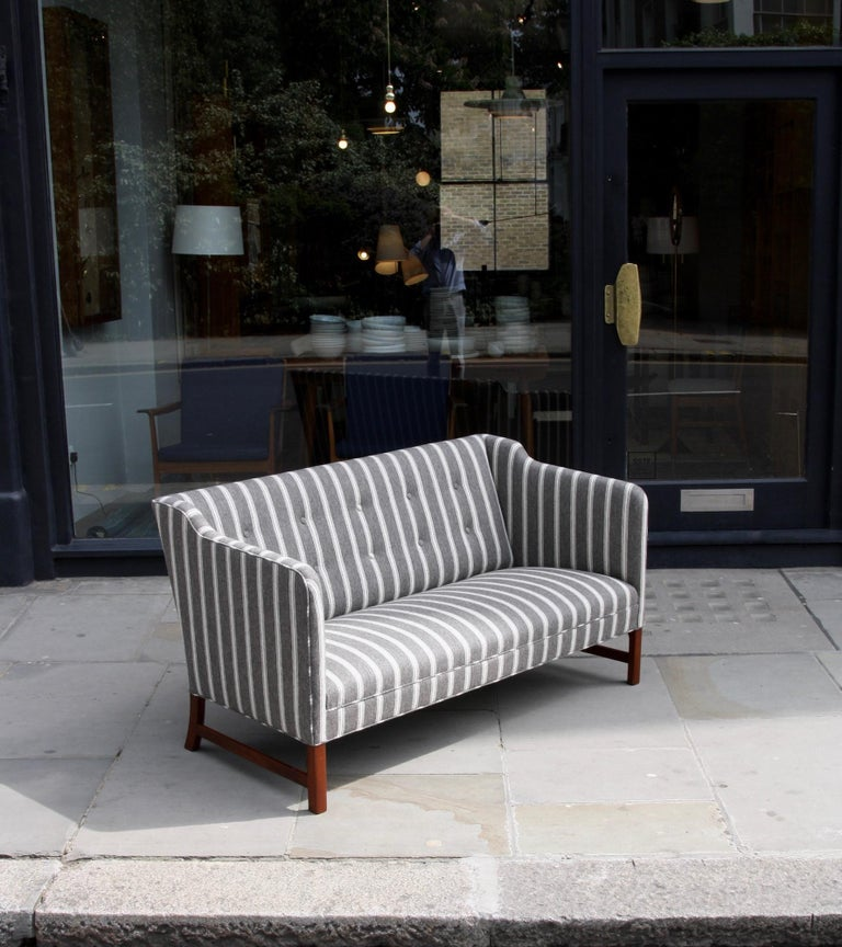 Carved Ole Wanscher Three-Seat Settee Made by A.J. Iversen For Sale