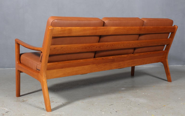 Leather Ole Wanscher Three-Seat Sofa For Sale