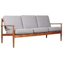 Ole Wanscher Three Seater Sofa, Model 128, Wool and Teak, France & Son, 1960s