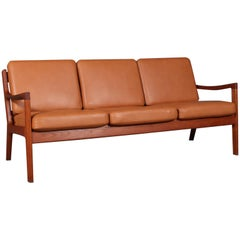 Ole Wanscher Three-Seater Sofa, Model Senator, Teak, and Cognac Aniline Leather