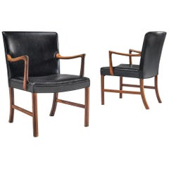 Ole Wanscher Two Armchairs in Black Leather