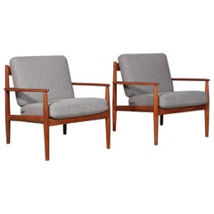 Ole Wanscher Two Lounge Chairs, Model 128, France & Son, Teak, Denmark, 1960s