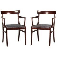 Ole Wanscher Two Rungstedlund Armchairs of Mahogany Made by PJ Møbler, 1970s