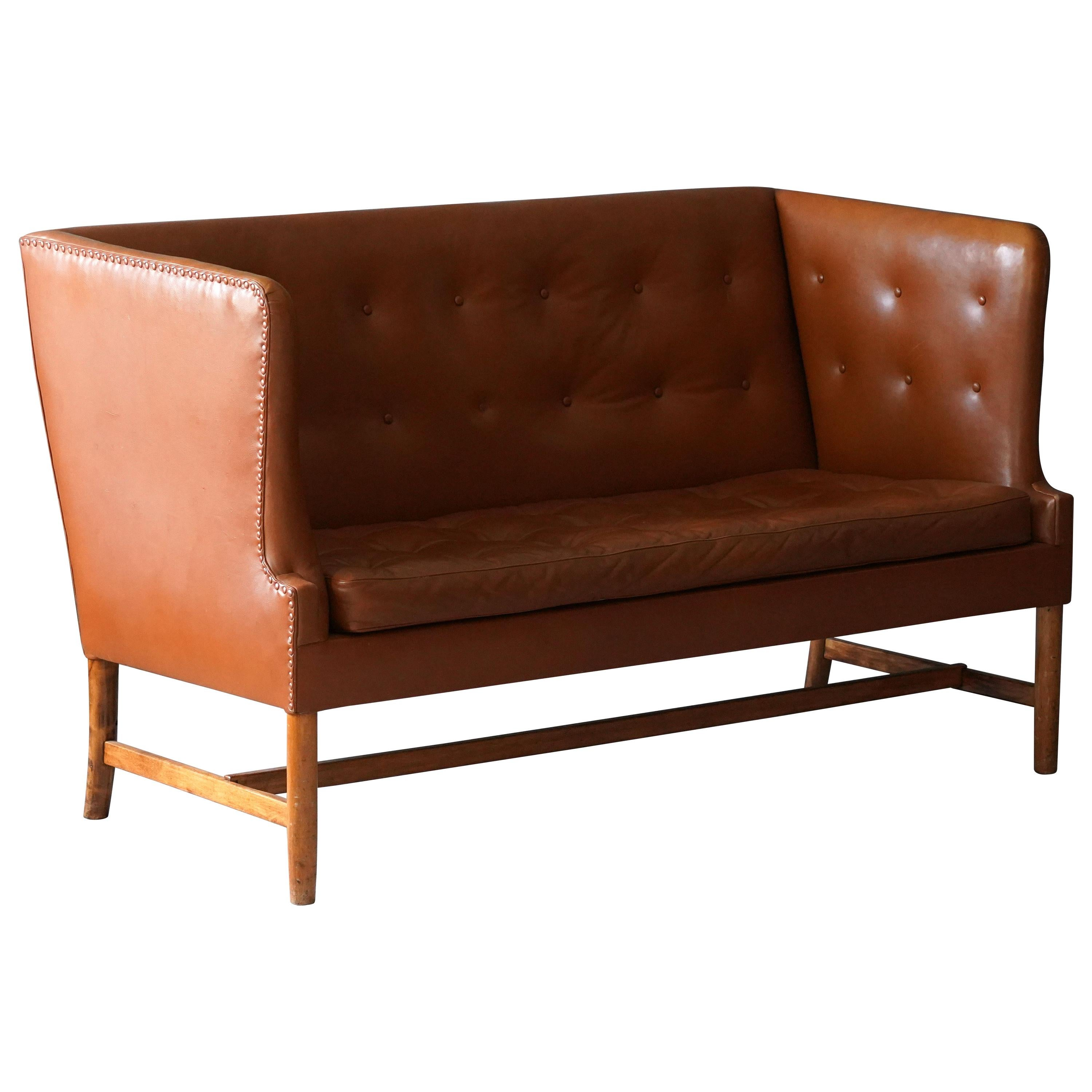 Ole Wanscher, Two-Seat Sofa, Leather, Wood, for A.J. Iversen, Denmark, 1950s