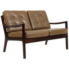 Ole Wanscher Two-Seat Sofa, Model Senator, Mahogany, and Green Leather