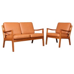 Ole Wanscher Two-Seat Sofa and Lounge Chair, Model Senator, Teak & Leather