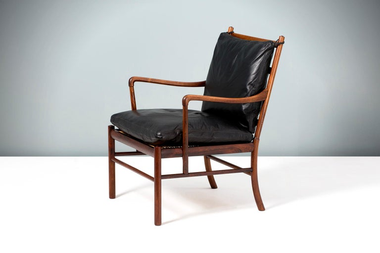 Ole Wanscher  PJ-149 Colonial chair, 1949  A fine example of Ole Wanscher's most iconic design: The Colonial chair. Produced by Poul Jeppesen in Denmark circa 1950s in exquisite Brazilian rosewood with original woven rattan cane seat and