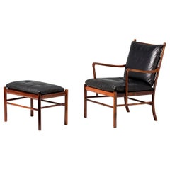 Ole Wanscher Vintage Rosewood Colonial Chair and Ottoman, 1950s