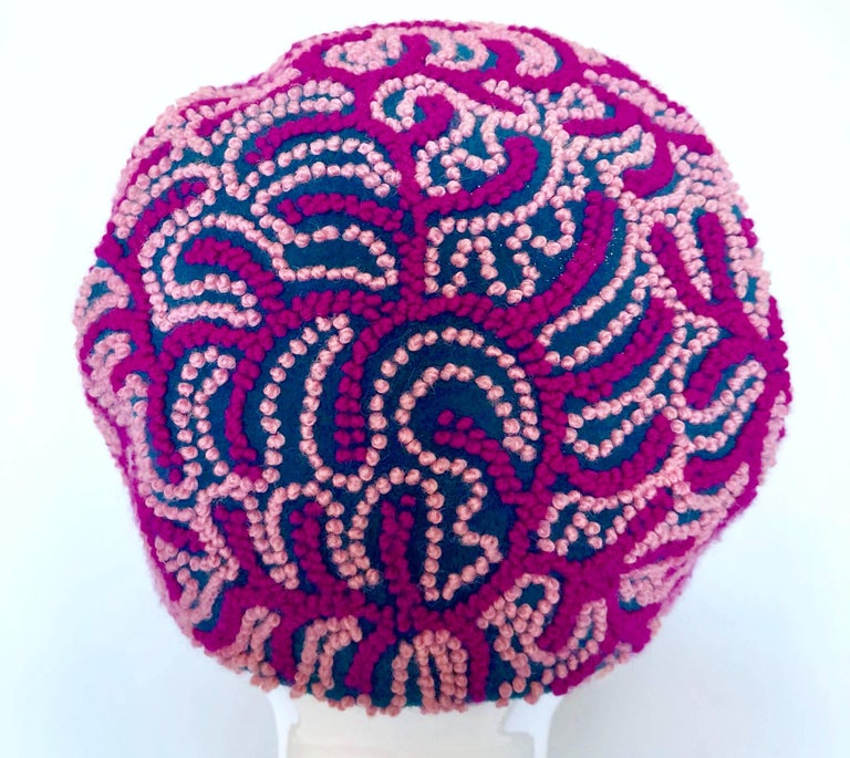 Women's Oleg Cassini 1960s Pink + Fuchsia + Navy Blue Wool 60s Mod Vintage Cloche Hat For Sale
