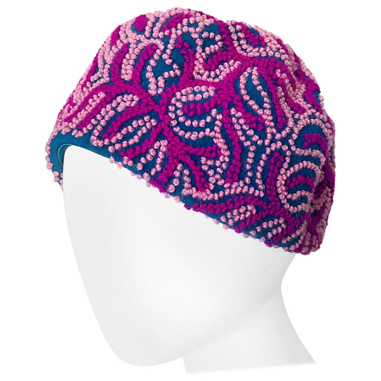 Oleg Cassini 1960s Pink + Fuchsia + Navy Blue Wool 60s Mod Vintage Cloche Hat For Sale