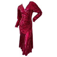 Oleg Cassini 1970's Red Sequin Disco Era Dress