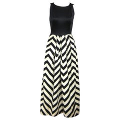 Oleg Cassini Black & White Chevron Maxi dress 1970s