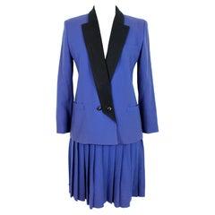 Oleg Cassini Blue Black Wool Pleated Evening Suit Skirt
