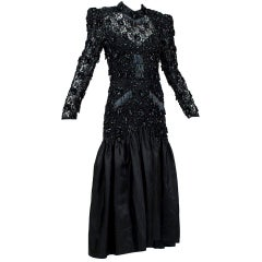 Oleg Cassini Glam Black Beaded Illusion Power Gown with Trumpet Skirt - S, 1980s