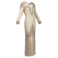 Oleg Cassini Nude Rose Gold Bead and Sequin Evening Gown - US 6, 1990s