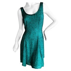 Oleg Cassini Seventies Disco Era Beaded Mini Dress with Skater Skirt