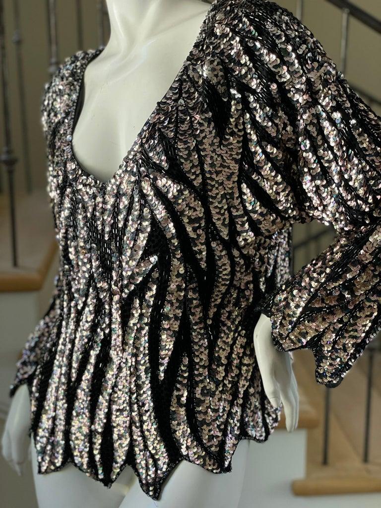 Oleg Cassini Vintage Disco Era Zebra Pattern Sequin Bugle Bead Low Cut Top  Size M   Bust 40