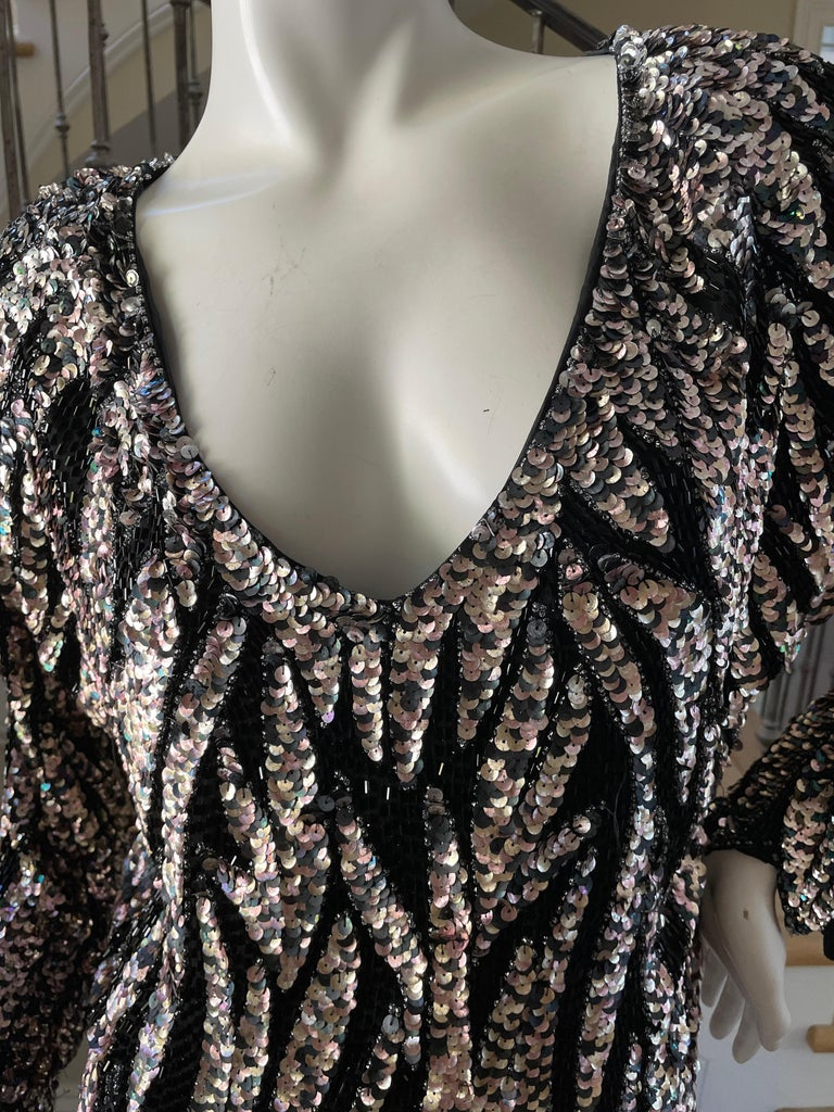 Oleg Cassini Seventies Disco Era Beaded & Sequined Plunging Zebra Pattern Top In Good Condition For Sale In Cloverdale, CA