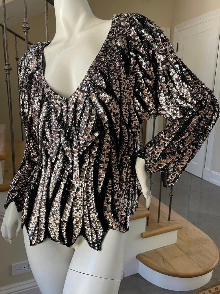 Oleg Cassini Seventies Disco Era Beaded & Sequined Plunging Zebra Pattern Top For Sale 1