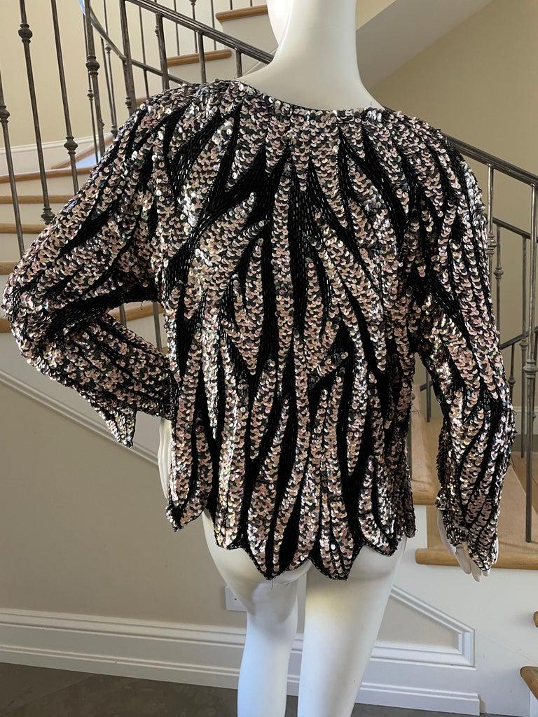 Oleg Cassini Seventies Disco Era Beaded & Sequined Plunging Zebra Pattern Top For Sale 2