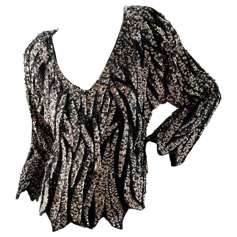 Oleg Cassini Seventies Disco Era Beaded & Sequined Plunging Zebra Pattern Top For Sale
