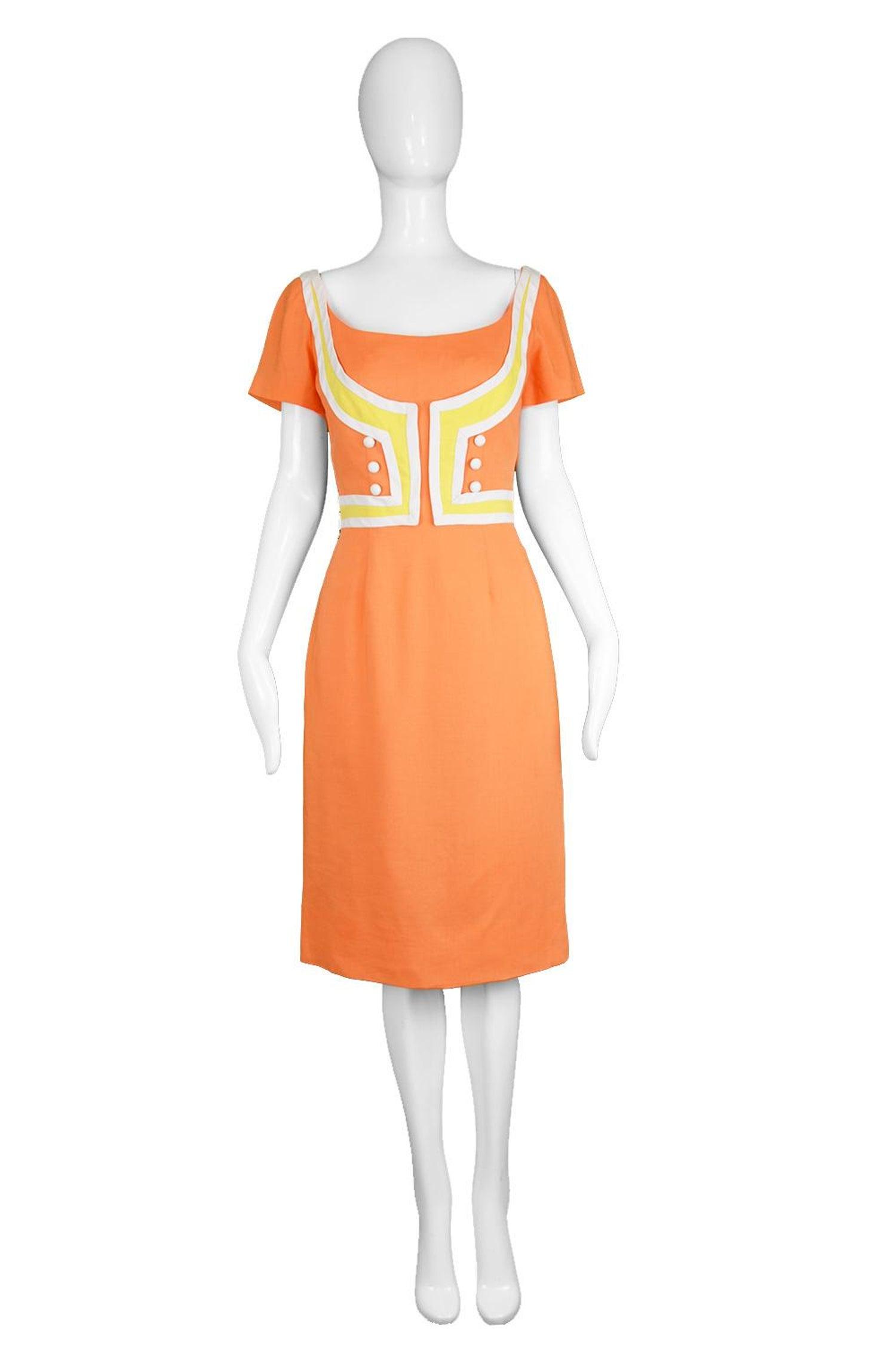 320bb8af04a3 Oleg Cassini Vintage Orange, White and Yellow Linen Short Sleeve Mod Dress,  1960s For Sale at 1stdibs