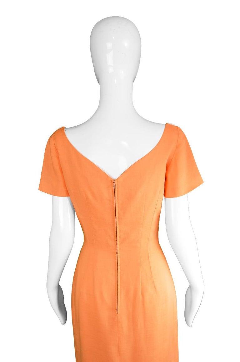 cc6b253ab342 Oleg Cassini Vintage Orange, White & Yellow Linen Short Sleeve Mod Dress,  1960s For