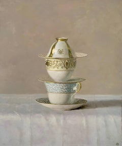 """3 Cups and Plates Stacked""  Elegant still life of white, blue and gold dishes"