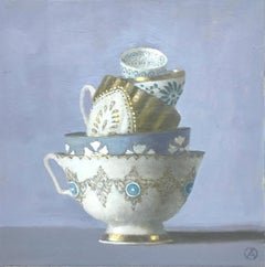 """""""5 Stacked Cups on Purple Background""""  Elegant still life, lavender, gold, white"""