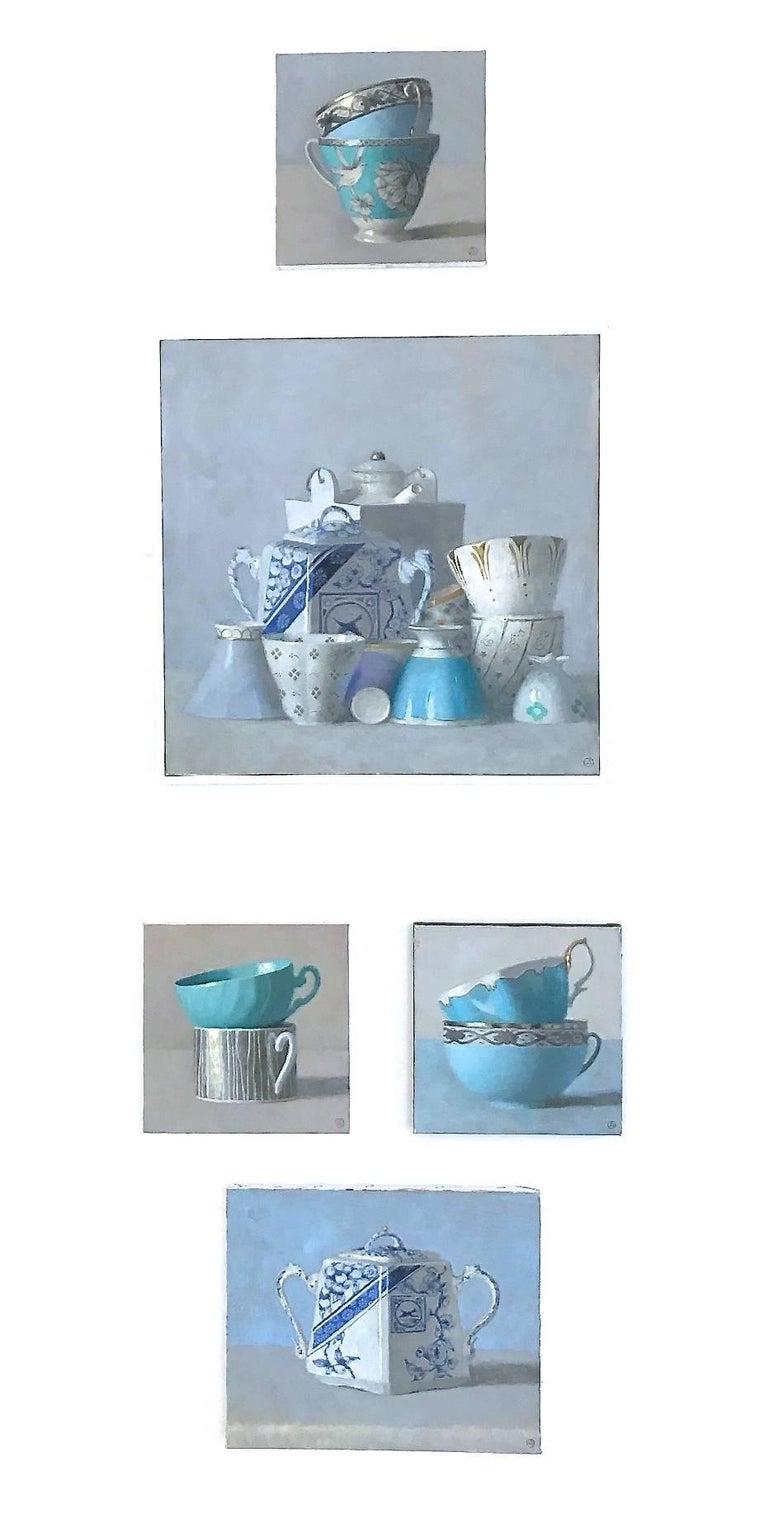 Art Nouveau Vase with Blue Flowers - Painting by Olga Antonova