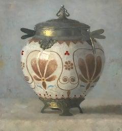 """Elegant Still Life of Art Nouveau Vase with Brown Flowers"""