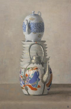 ASIAN TEAPOTS AND PLATES, stacked cups, detailed white porcelain, still life
