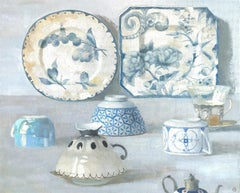 """""""Composition with Two Plates""""  Elegant still life, blues and white with six cups"""