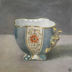 """""""Elegant Still Life of Blue and Gold Cup with Red Flower"""""""