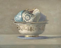"""Cups in Circle in a Bowl""  Elegant Still Life of Blue, White, Gold Cups & Bowl"